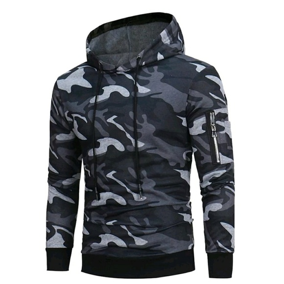 11dad512 Fanyeah Other   Mens Camouflage Hoodie Grey And Black   Poshmark
